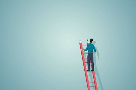 Creativity vector concept with man searching for new ideas, inspiration. Symbol of creative work.