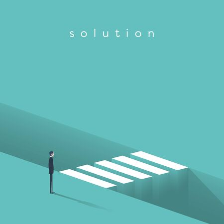 Business challenge and overcoming vector concept. Symbol of motivation, ambition and finding solution. Eps10 illustration.