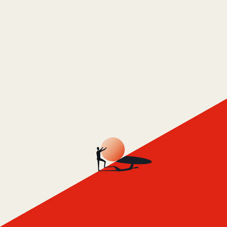 Business challenge vector concept with sisyphus pushing stone uphill. Symbol of struggle, strong effort, opportunity.