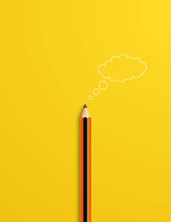 Creativity vector concept with pencil and 3d cloud as symbol of brainstorming, thinking, new ideas, inspiration. Vettoriali