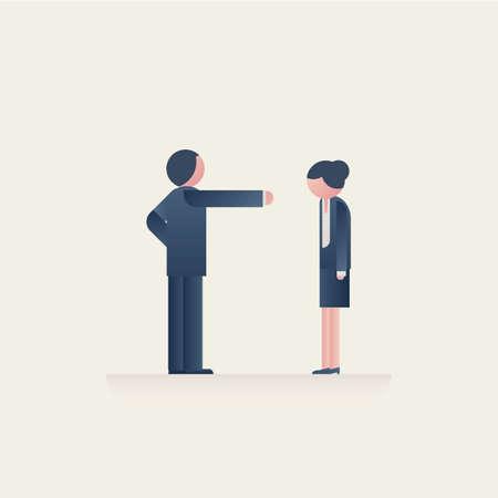 Male boss scolding or reprimanding female worker. Symbol of gender inequality, discrimination, man domination. Vettoriali
