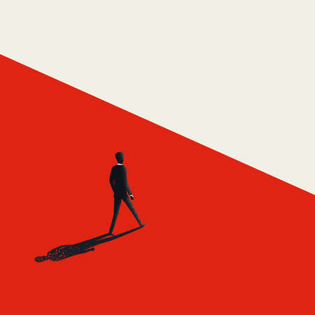 Business leader vector concept. Businessman walking to the other side. Fearless leadership manager. Archivio Fotografico