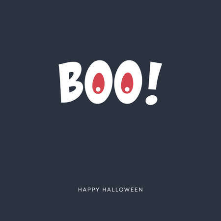 Minimal halloween card vector template with funny message. Holiday poster in simple style.