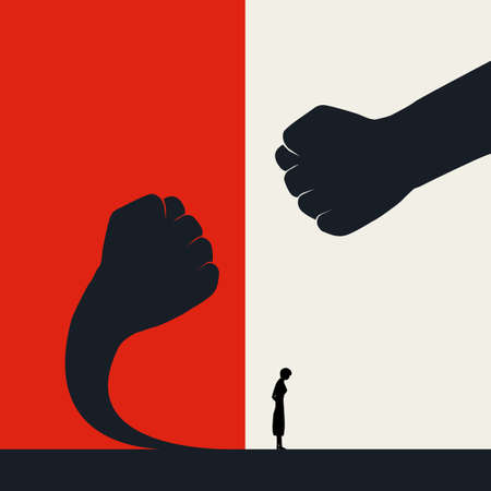 Stop violence against women and fight back vector poster template. Fearless women with courage stand up. Vettoriali