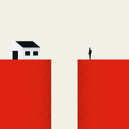Expensive housing market concept. Unaffordable, out of reach price, market crisis, recession.