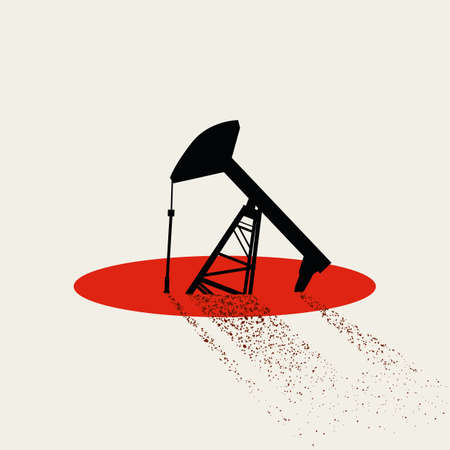 Oil prices falling due to global financial depression and recession vector concept. Oil pump sinking. Vettoriali