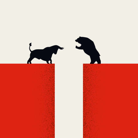 Bull vs bear market vector concept. Symbol of stock market up and down fluctuation, financial trading.