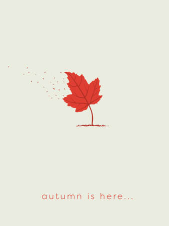 Autumn or fall card template with maple leaf as tree with leaves and wind blowing them off.
