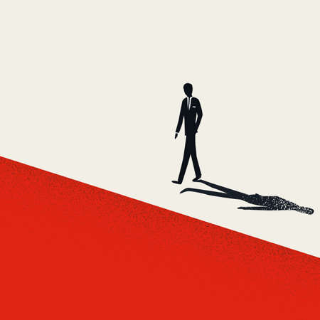 Business risk, financial crisis, depression vector concept with businessman walking to edge of a cliff.