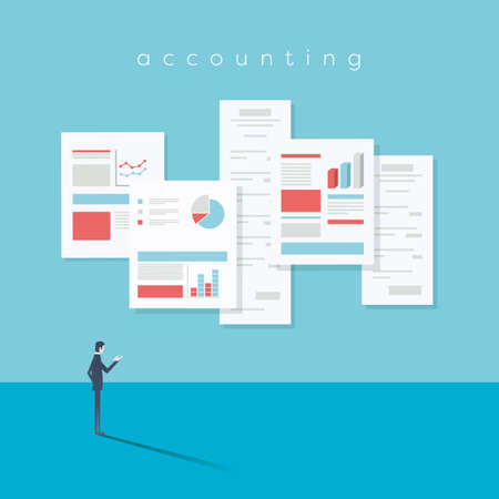 Accounting website vector illustration with documents, reports, analysis and audit symbols.
