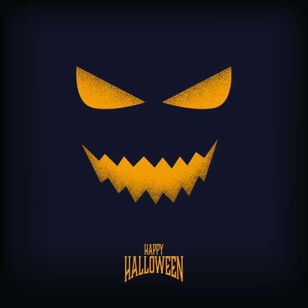 Halloween card or party invitation vector template with evil monster grin with grainy texture.