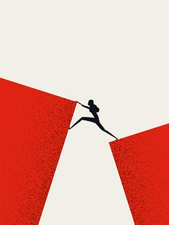 Business woman leader vector concept. Businesswoman climbing across gap. Symbol of strength, courage. Vettoriali