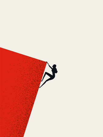 Businesswoman climbing cliff vector concept. Career promotion, progress, opportunity symbol.