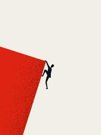 Businessman climbing cliff vector concept. Career promotion, progress, opportunity symbol.
