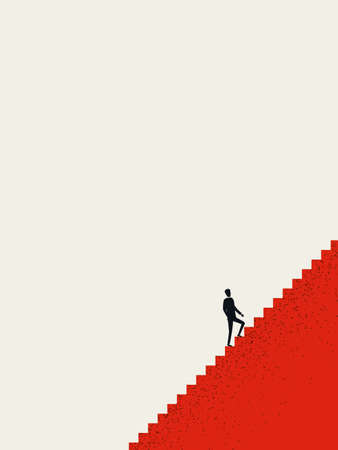 Business career opportunity vector concept. Businessman climbing stairs, career ladder. Motivation, ambition symbol.