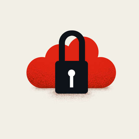 Cloud computing and data protection and security vector concept simple illustration. Internet safety, hacker symbol.
