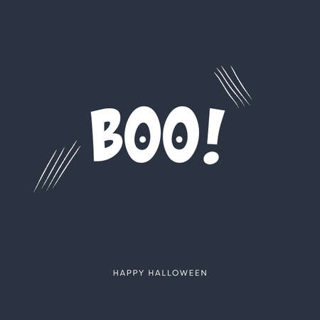 Halloween card vector template with scary scratch marks and creative typography.