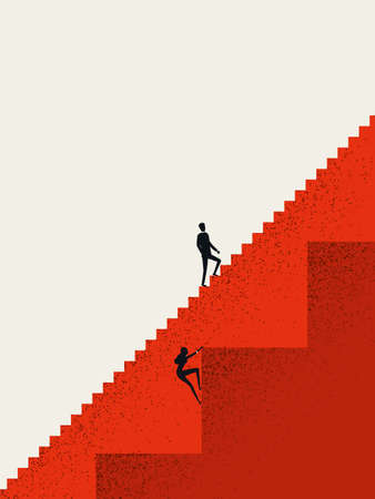 Business gender inequality vector concept with businessman and businesswoman on different stairs. Career opportunities.