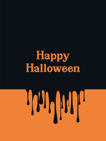 Halloween card template with blood spilling and leaking symbol. Party invitation or banner. Vettoriali