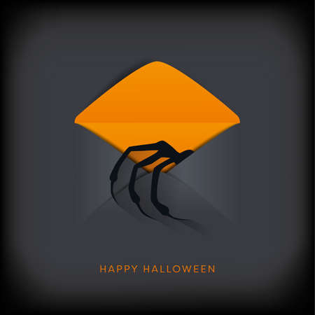 Halloween party vector invitation with monster hand reaching out of envelope. Symbol of holiday, horror.