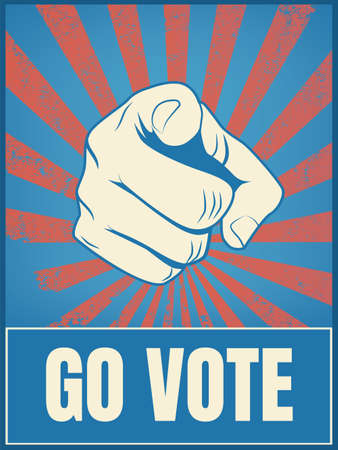 America presidential election 2020 campaign vector banner with motivational message, hand pointing at viewer.