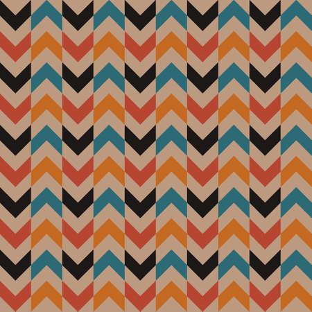 Abstract retro vintage vector seamless pattern background. Regular arrow shapes with optical illusion.