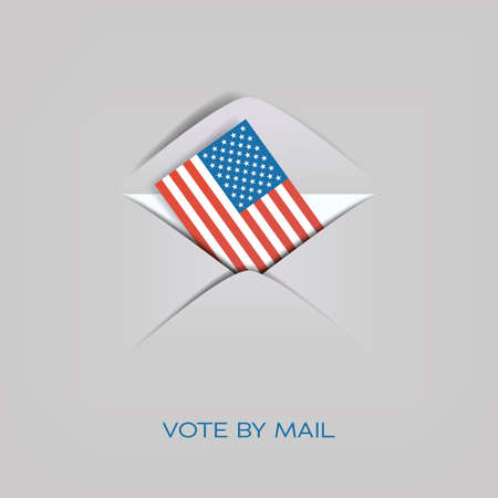 Vote by mail in US presidential election vector concept. American flag in envelope. Cast ballot, distant voting. Vettoriali