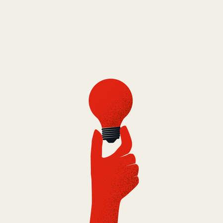 Creativity vector concept, hand holding light bulb, minimal design style. Symbol of creative business.