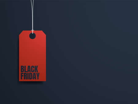Black Friday banner vector template with red price tag on dark background. Special offers, discounts promotion Illustration