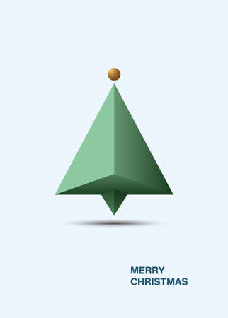 Minimal modern Christmas tree card design vector template. Holiday greeting with message, vertical. illustration.