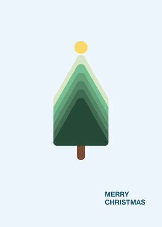Minimal modern Christmas tree card design vector template. Holiday greeting with message, vertical.