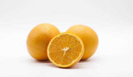 オレンジは白で分離 写真素材