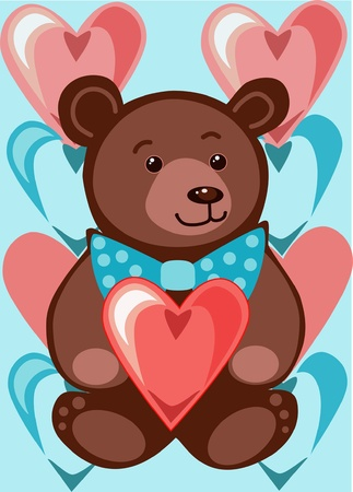 bear on a blue background with balloons for Valentine Vector