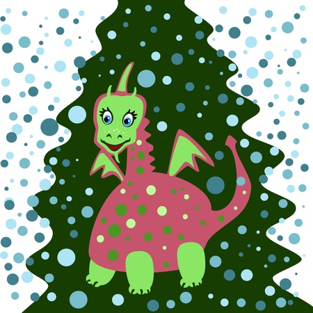 Dragon on a green background of trees Stock Vector - 11673969
