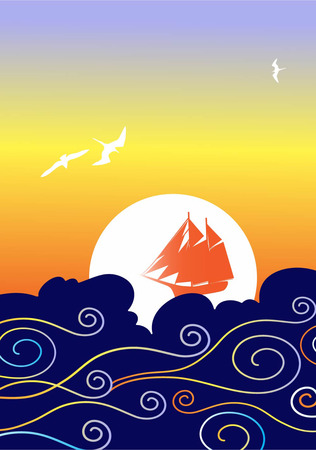 red sails in the sunset Vector