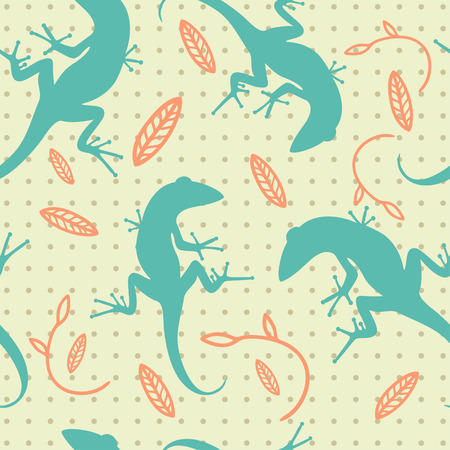 decorative pattern of leaves and lizards