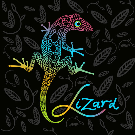 nimble: bright lizard on a dark background with decorative leaves