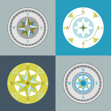 azimuth:  series of decorative compasses on different backgrounds