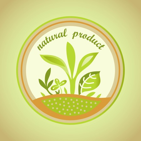 product range: natural product emblem with green leaves
