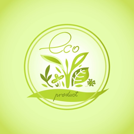 pure natural product eco emblem in a circle Vector