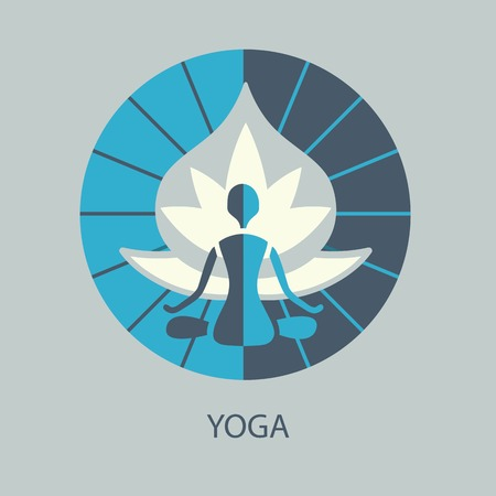 yogi: yoga silhouette on a lotus with the rays from the center