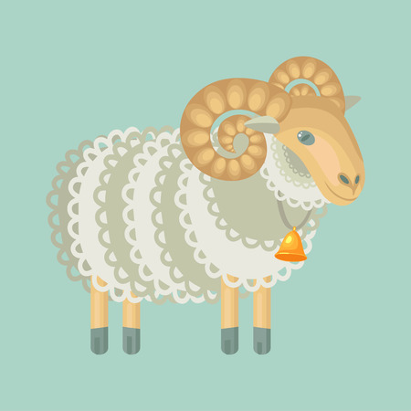 stubbornness: curly sheep with bell isolated