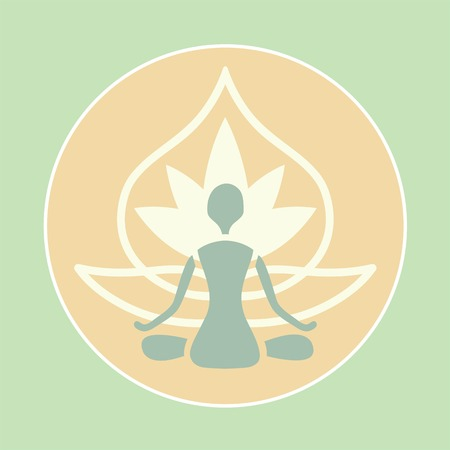 emblem of man in lotus position on the flower background Vector