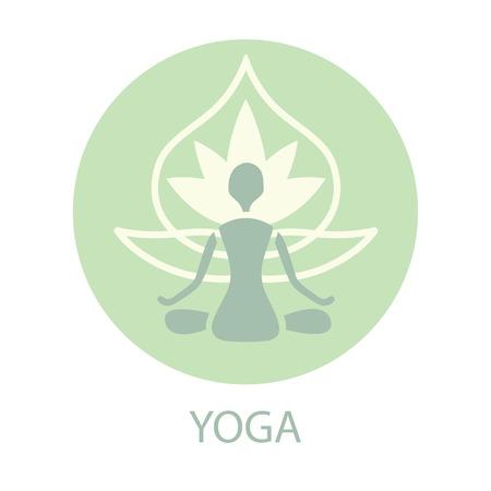 namaste: yoga silhouette on a lotus