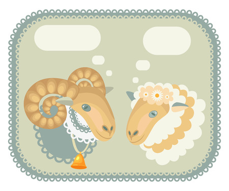 sheep and sheep in the box with fields for text Vector