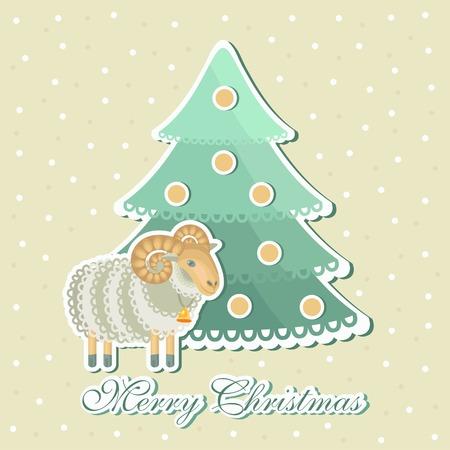 kinky: sheep around Christmas trees with snowflakes on background