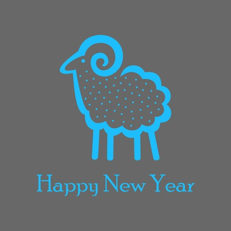 blue sheep on a dark gray background for greeting card Vector