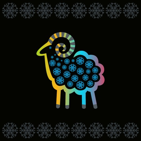 Bright sheep on a black background with snowflakes Vector