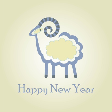 decorative sheep on a bright background for a card Vector
