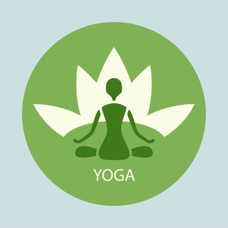emblem yoga pose against a background of lotus in a green circle Vector
